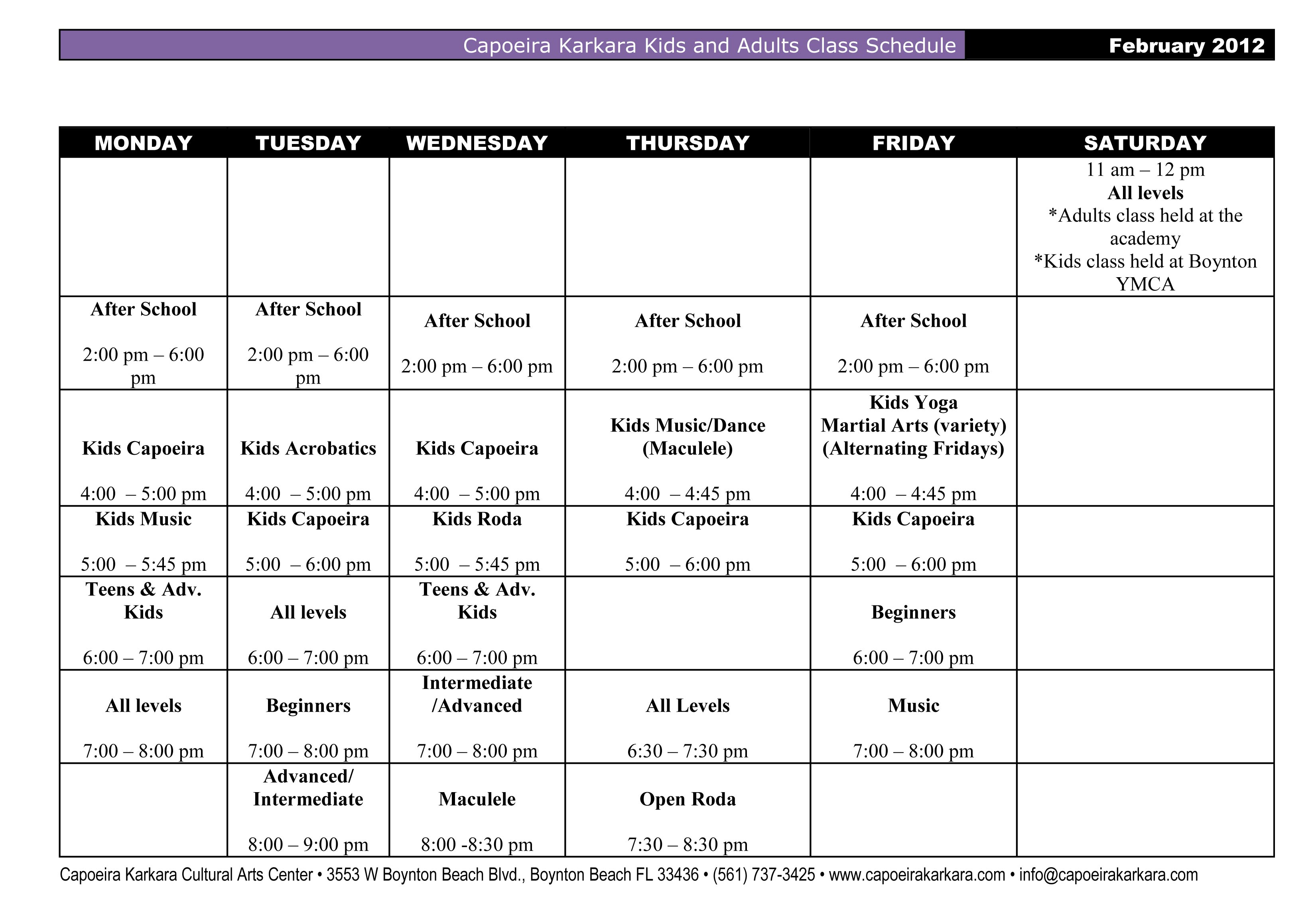 Class Schedule for Kids and Adults Capoeira Classes