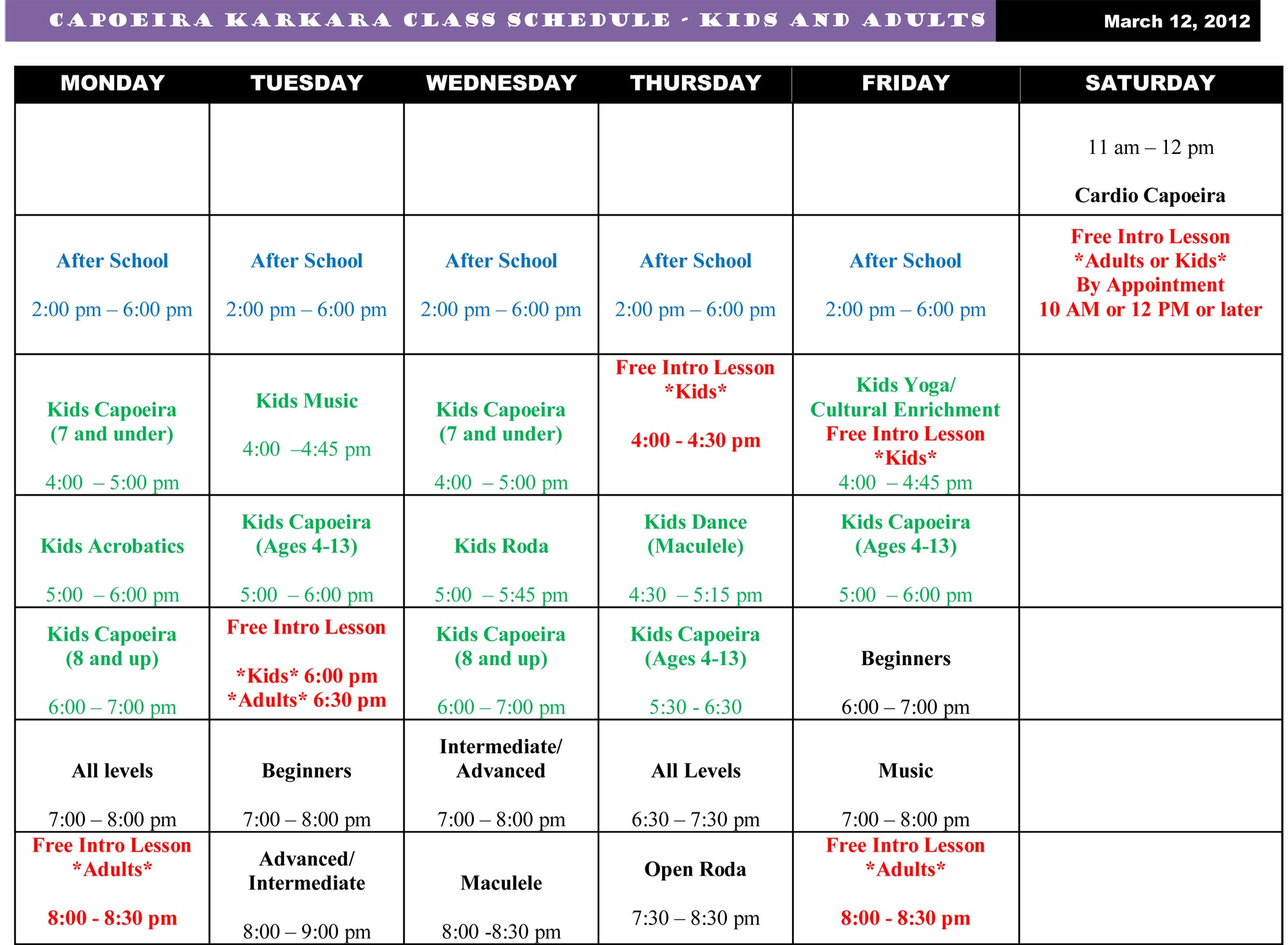 Class Schedule Capoeira Karkara Kids and Adults