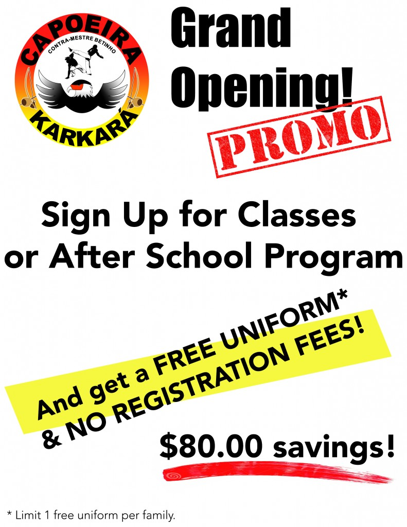 Capoeira Karkara Grand Opening Sign Up Promo Flyer